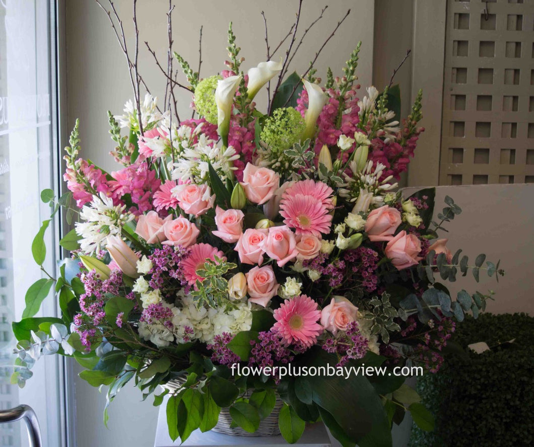 FNV60 - Pastel Basket Arrangement - Flowerplustoronto
