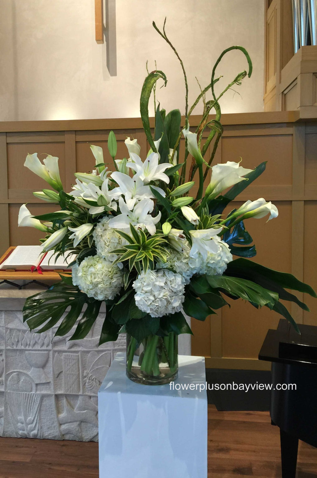 FNV75 - Modern White and Green Vase Arrangement - Flowerplustoronto