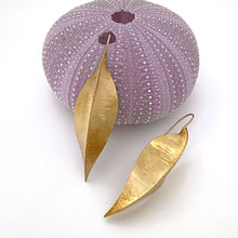Load image into Gallery viewer, brass fold formed pea pod shaped earrings handmade by beth truso