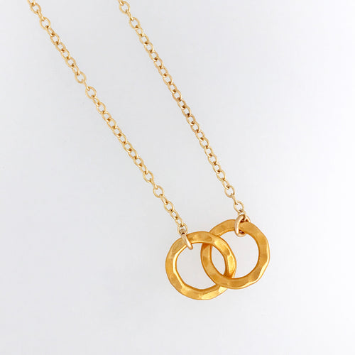 heavy hammered interlocking circles necklace 24kt gold plated sterling silver  pendant 14kt gold filled chain