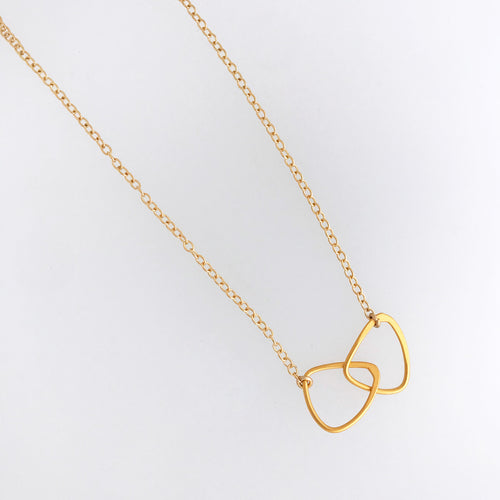 interlocking triangle necklace 24kt gold over sterling plated charm  gold filled chain