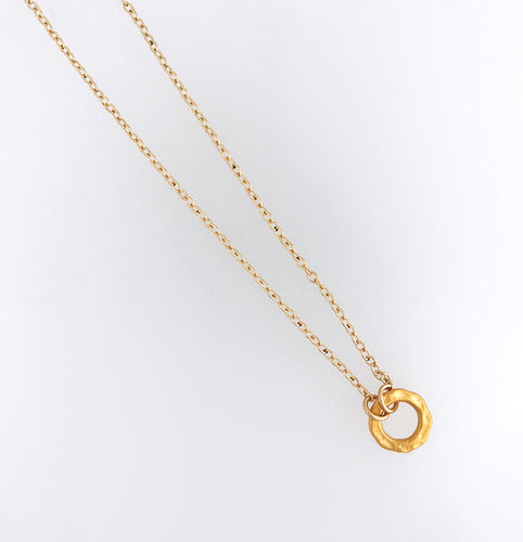 24kt gold plate over sterling silver circle necklace 14kt gold-filled chain