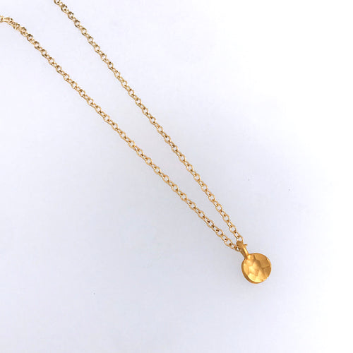 small 24kt gold plate over sterling silver disc pendant 14kt gold-filled chain
