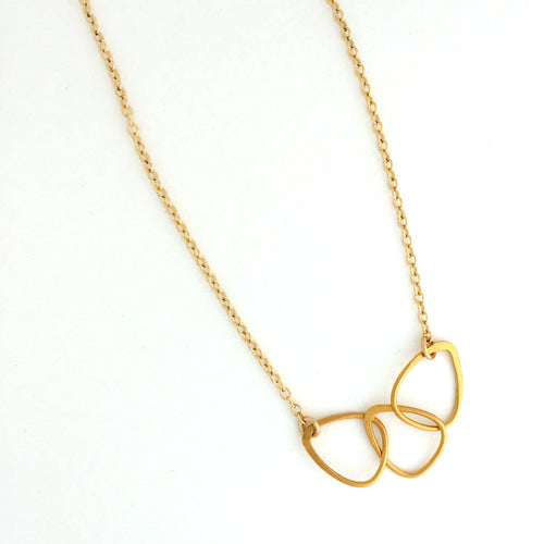 24kt gold plate linked trianlges necklace 14kt gold-filled chain
