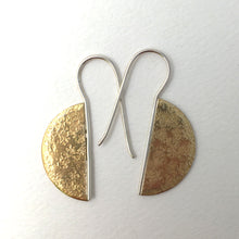 Load image into Gallery viewer, textured brass semi circke earrings on fixed sterling silver earwires front view