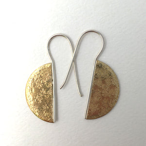 textured brass semi circke earrings on fixed sterling silver earwires front view