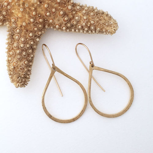 handcrafted tear drop shaped brass earring hammered heavy wire  14kt goldfilled ear wires