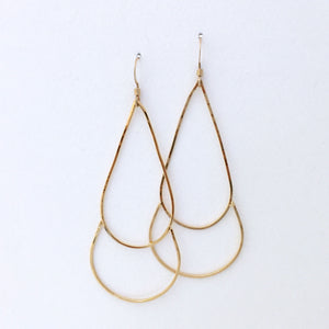 24kt gold earrings delicate wire teardrop shape on display card