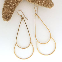 Load image into Gallery viewer, 24kt gold plated brass earrings delicate wire teardrop shape