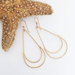earrings brass wire teardrop shape 24kt gold plated