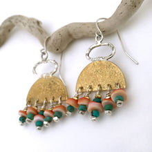 Load image into Gallery viewer, handcrafted brass sterling silver stamped earrings turqoise shell close up
