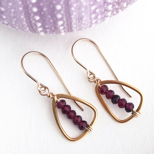 triangle 24kt gold over sterling plate earrings faceted garnet beads