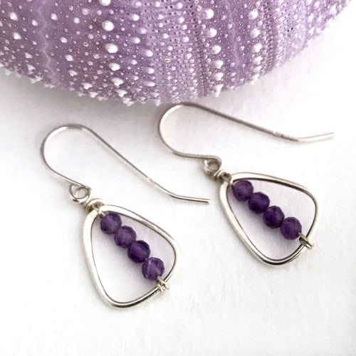 Sterling Silver Earrings Flat Triangle Frames Threaded with Small Amethyst beads