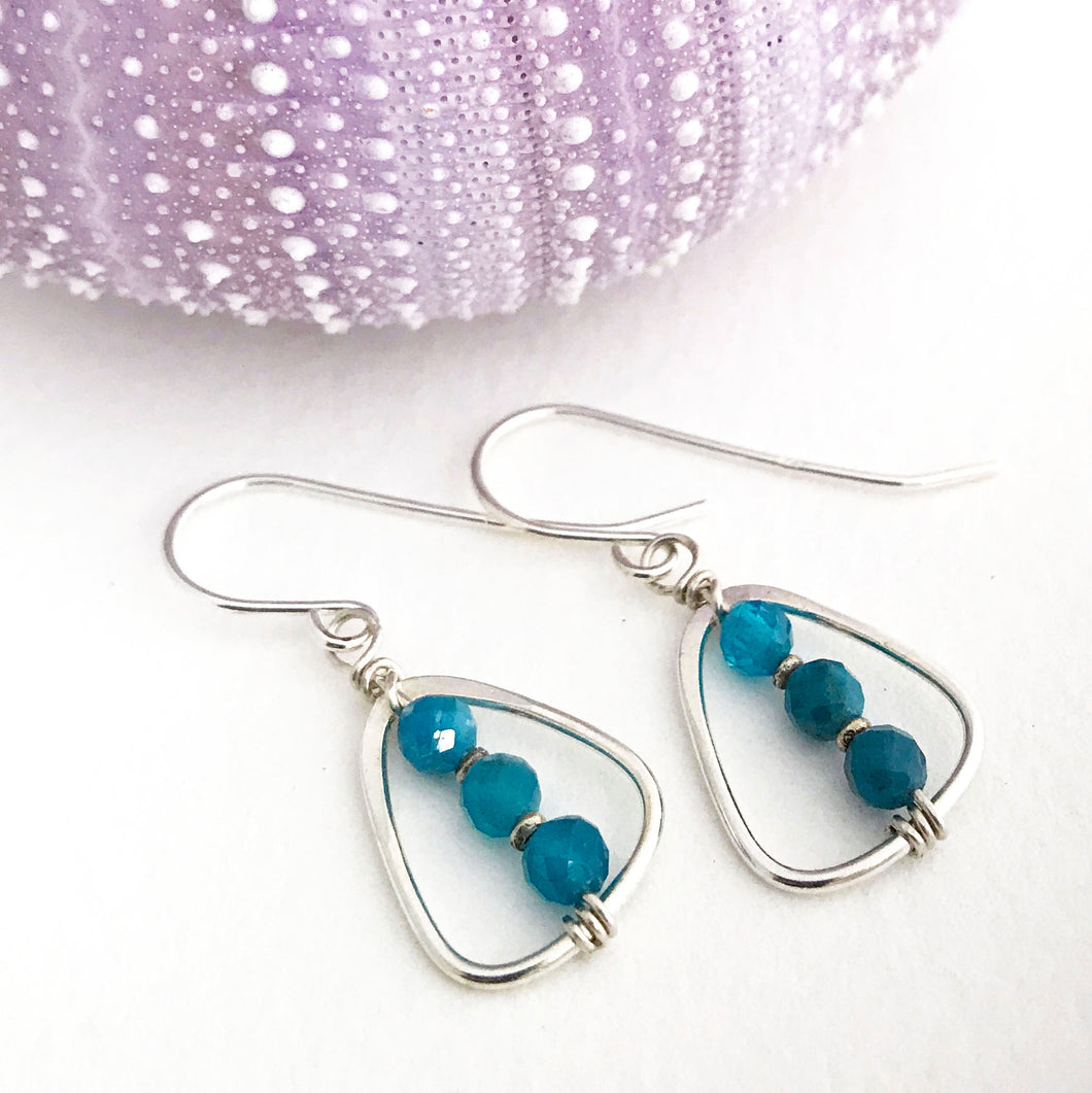 Sterling Silver Earrings triangle shaped ring with apatite beads