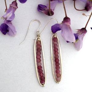 handcrafted long oval sterling silver earrings faceted pink tourmaline beads