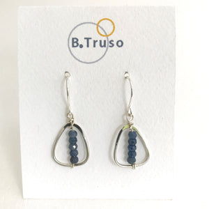 sterling silver oval link earrings blue sapphire faceted on display beads