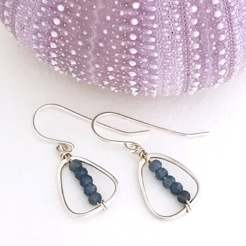 handcrafted sterling silver triangle link earring  faceted blue sapphire beads