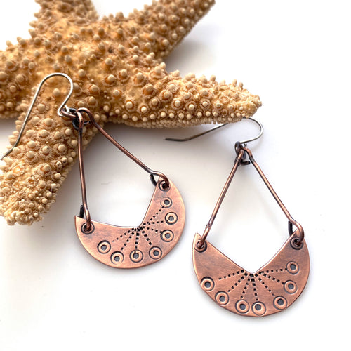 Handcrafted stamped  crescent moon copper earrings sterling silver earwires