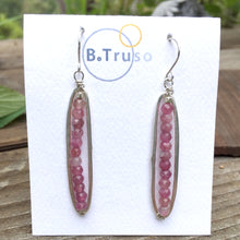 Load image into Gallery viewer, long oval sterling silver earrings pink tourmaline beads on card