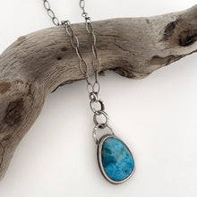 Load image into Gallery viewer, handcrafted sterling silver pendant with  teardrop apatite cabochon necklace on chain