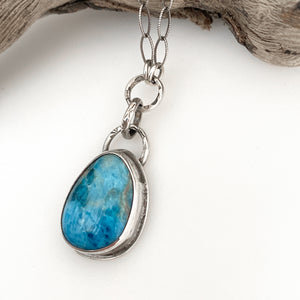 handcrafted  sterling silver apatite pendant on link chain