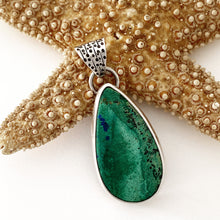 Load image into Gallery viewer, handcrafted sterling silver pendant maleachite azurite cabochon