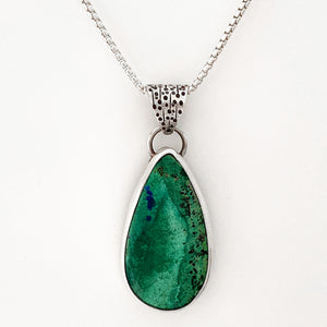 handcrafted fabricated sterling silver pendant malachite azurite cabochon chain