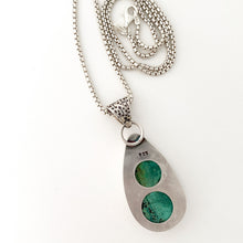 Load image into Gallery viewer, sterling silver handcrafted malachite azurite pendant on round box chain