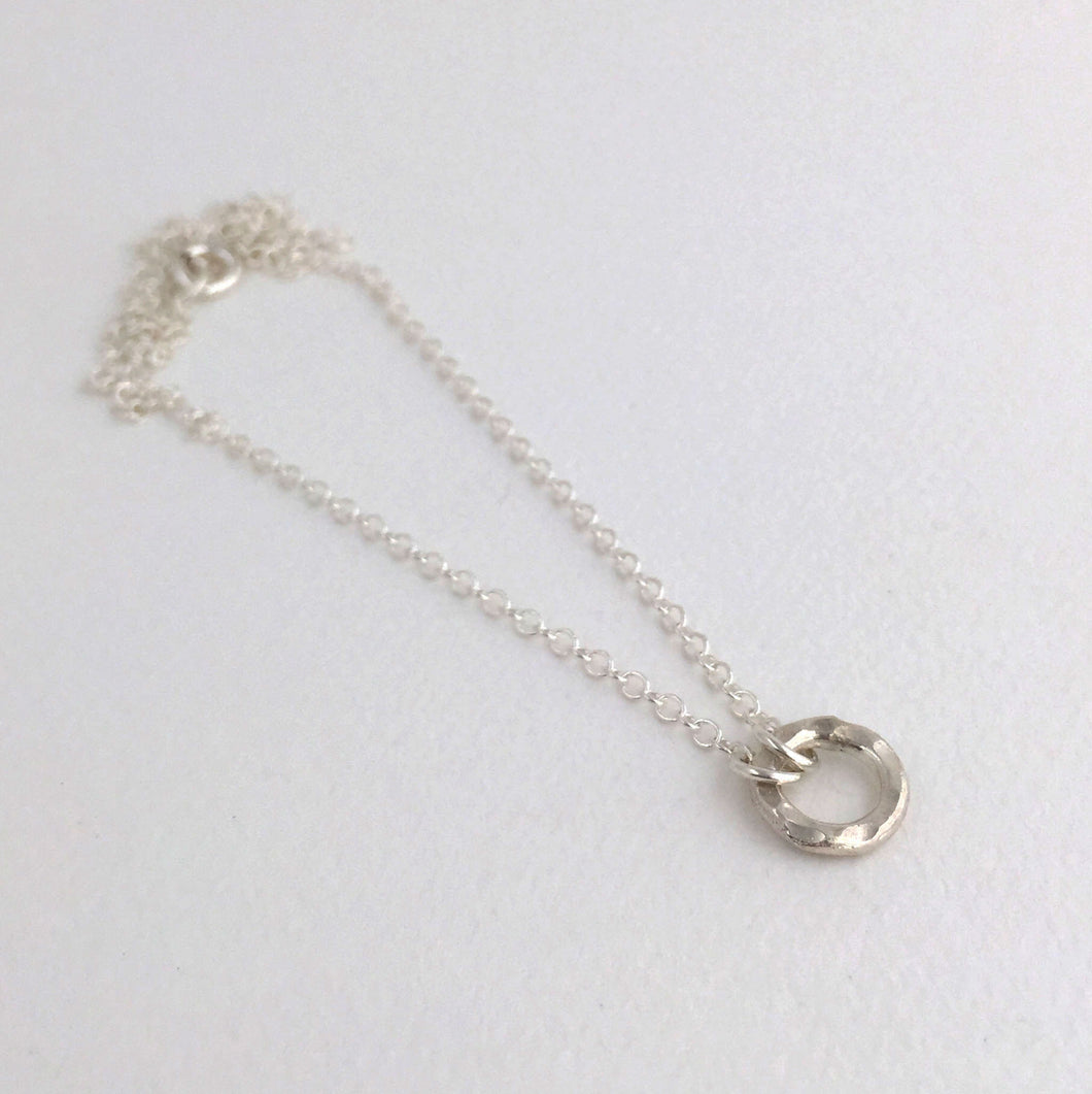 sterling silver heavy hammered circle necklace sterling silver cablechain