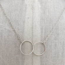 Load image into Gallery viewer, sterling silver necklace thin wire interlocking circles sterling cable chain on display