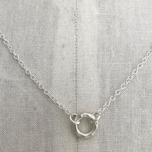 Load image into Gallery viewer, sterling silver heavy hammered circle necklace sterling cable chain on display