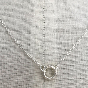 sterling silver heavy hammered circle necklace sterling cable chain on display
