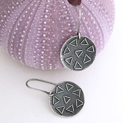 disc shape sterling silver earrings  triangle fused wire  texture embellishments