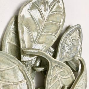 "Beech Leaves (Set of 5)-  Porcelain 3.5"" x 2"" Custom Tile"