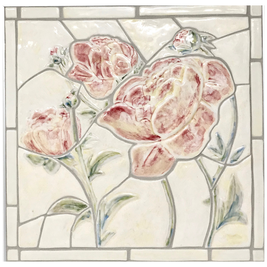 "Peonies - Full Colour Porcelain 12"" x 12"" Mosaic Tile"