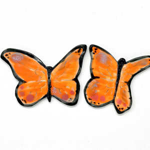 "Monarch Butterflies (Set of 2)-  Porcelain 3"" x 3.5"" Custom Tile"