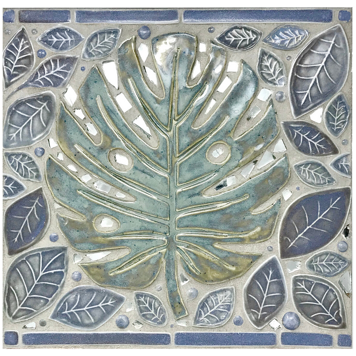 "Monstera - Porcelain 12"" x 12"" Custom Mosaic Tile"