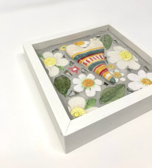 Daisies & Heart Framed Mosaic Art
