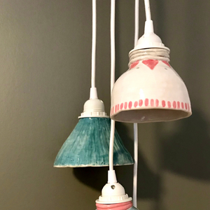 Hand Painted Porcelain Pendant Lamp  (exact item shown)