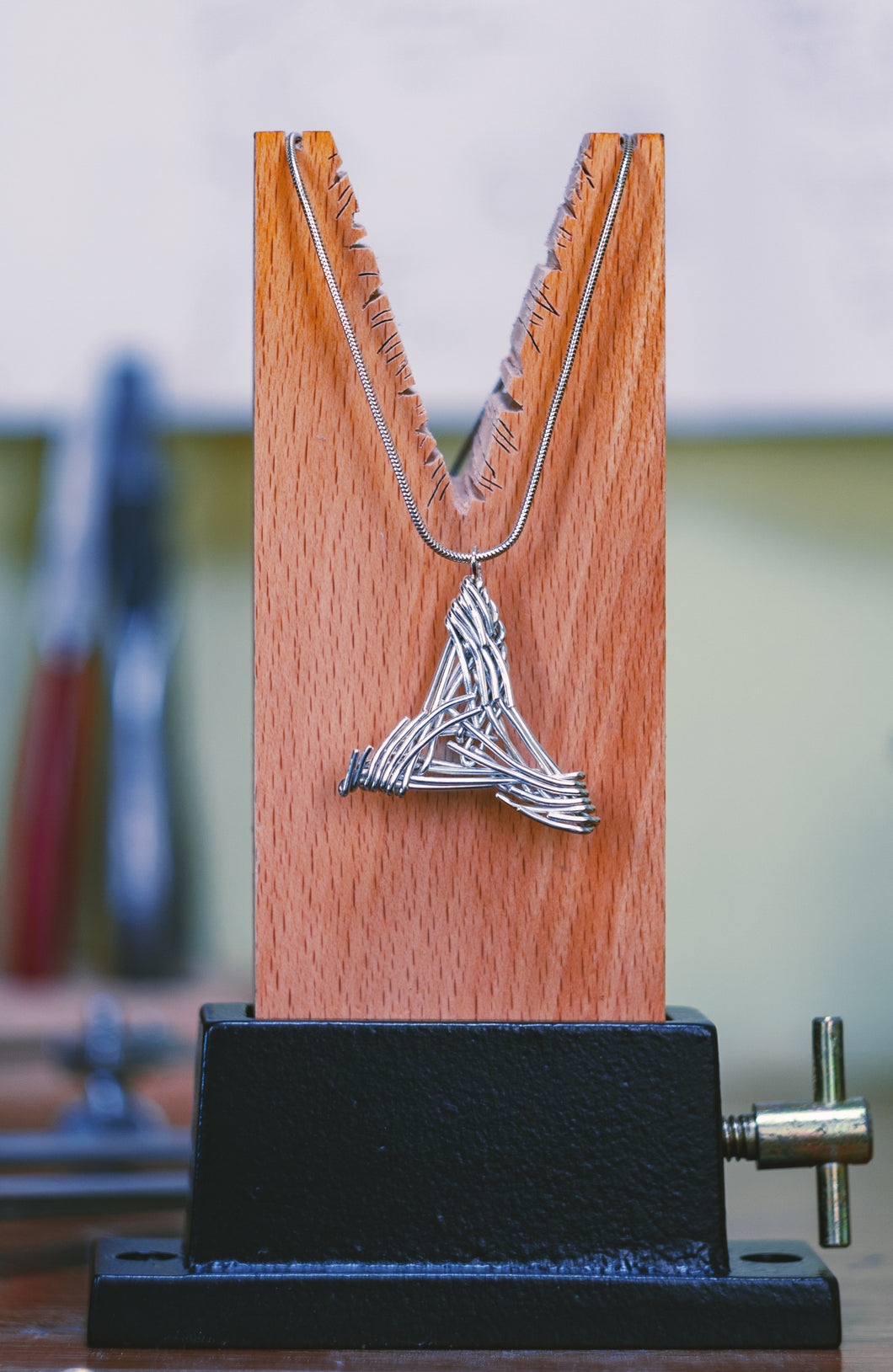 'Blue Biddy' triangle pendant