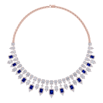 Elegant diamond Necklace in rose gold with white and red diamonds of 26.79 ct in weight