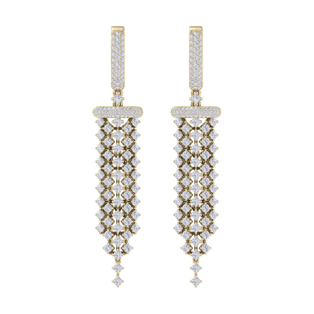 Chandelier earrings in yellow gold with white diamonds 4.48 ct in weight