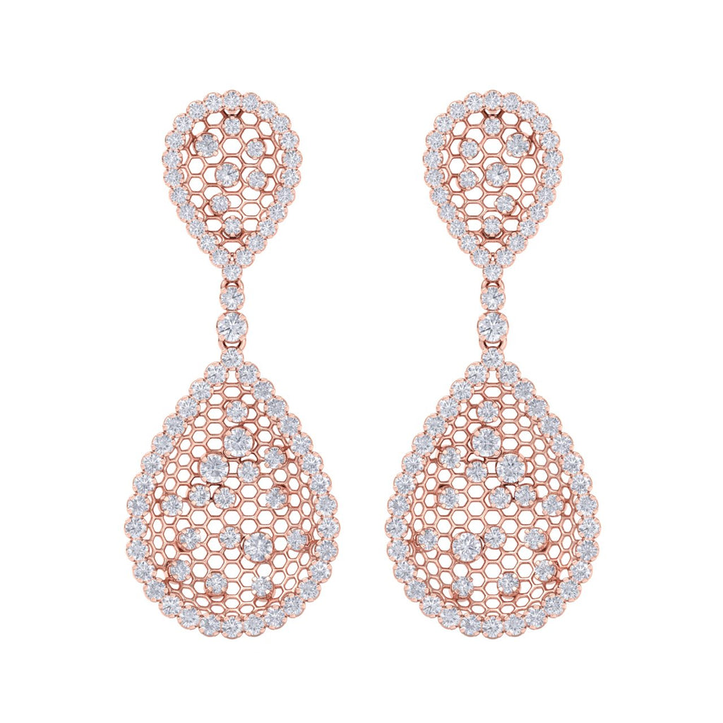 Chandelier earrings in rose gold with white diamonds of 3.87 ct in weight