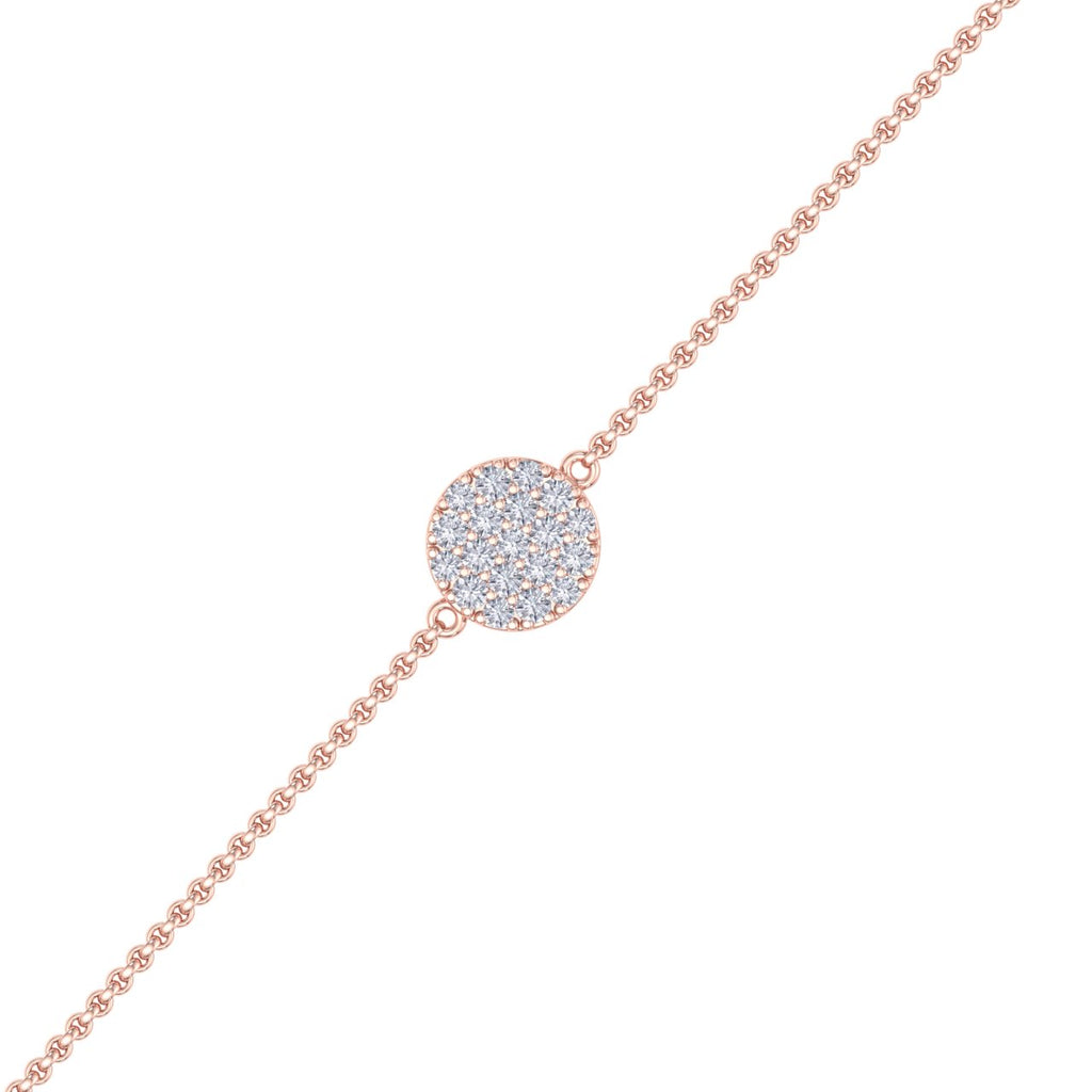 Circle bracelet in rose gold with white diamonds of 0.50 ct in weight