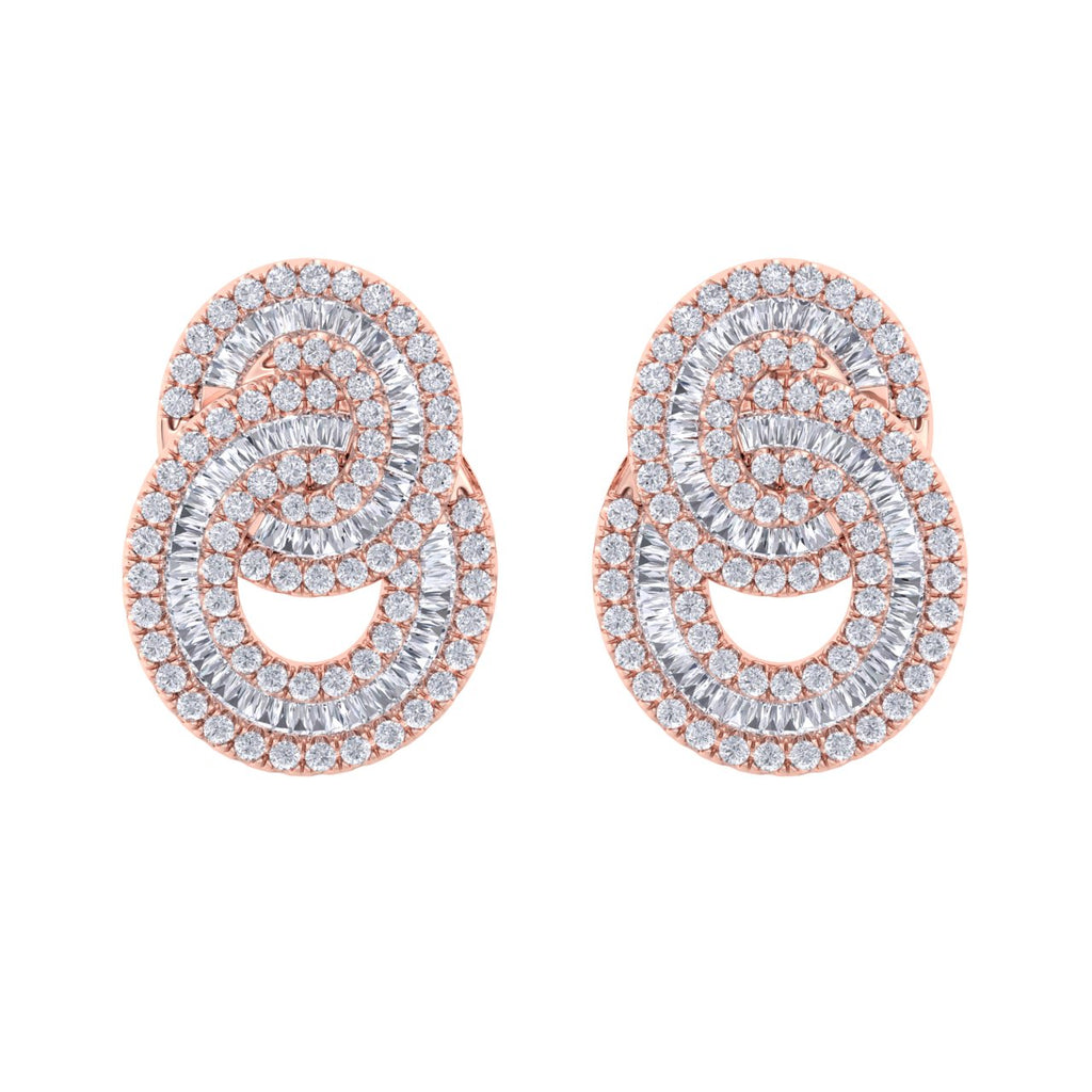 Glam earrings in rose gold with white diamonds of 3.24 ct in weight - HER DIAMONDS®