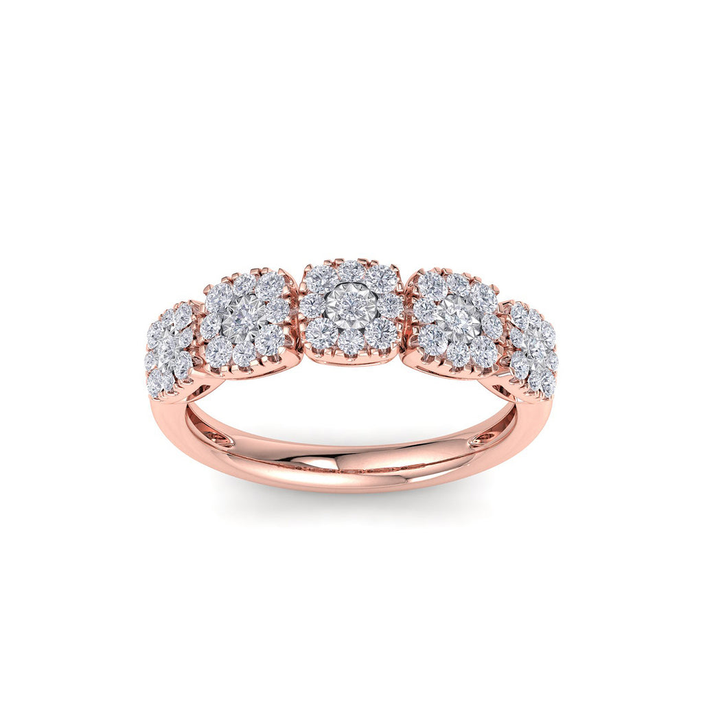 Ring with miracle plate setting in rose gold with white diamonds of 0.51 ct in weight