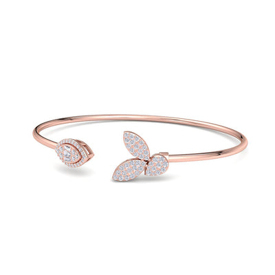Leaf shape bangle in rose gold with white diamonds of 0.54 ct in weight - HER DIAMONDS®