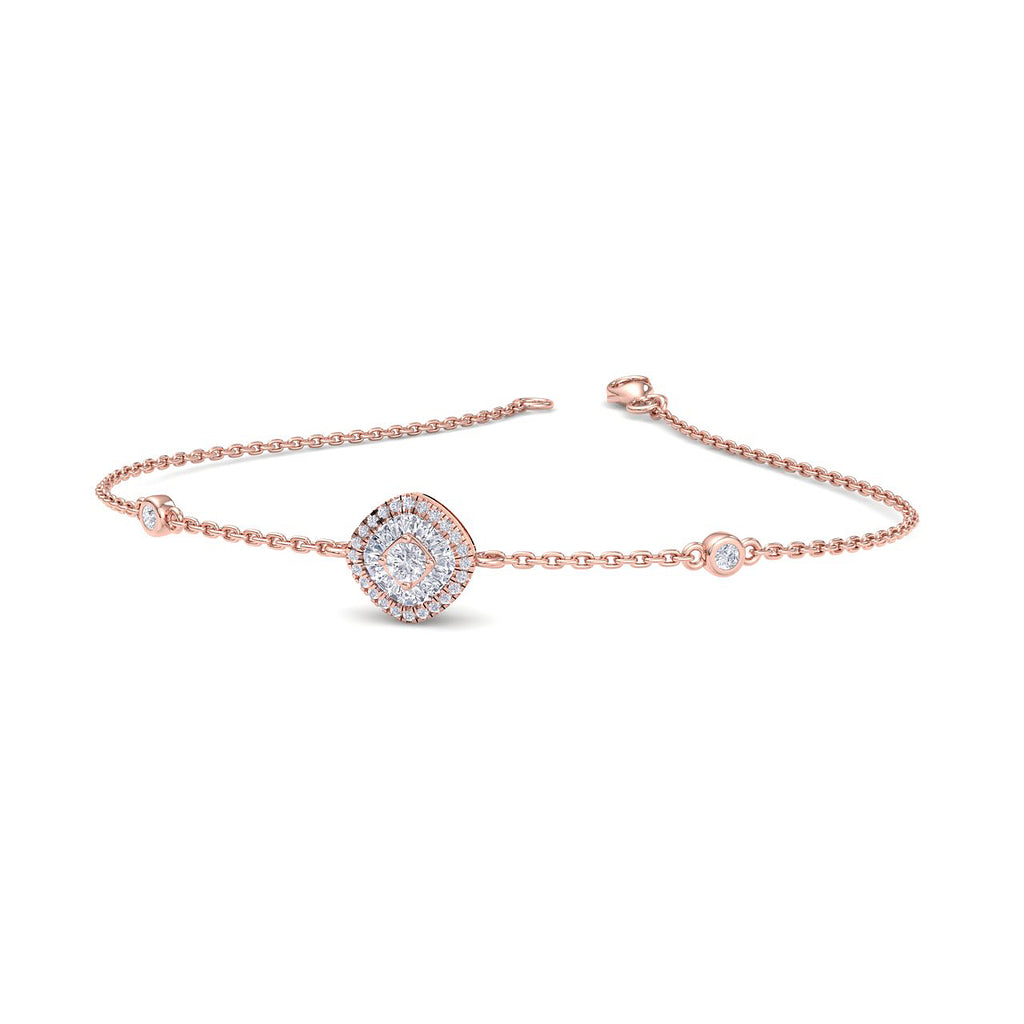 Square shape bracelet in rose gold with white diamonds of 0.20 ct in weight - HER DIAMONDS®