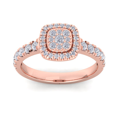 Halo Wedding ring in rose gold with white diamonds of 0.75 ct in weight