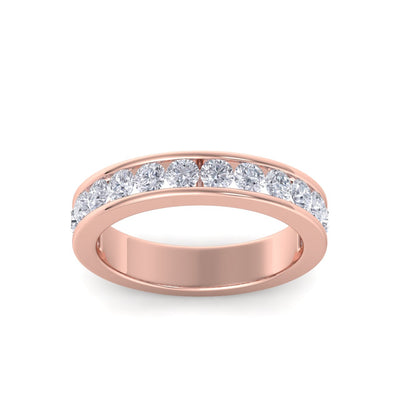 Classic Wedding band in rose gold with white diamonds of 1.01 ct in weight